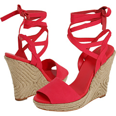 6fb48e4308 For the wide-leg white linen pants (or the white linen anything), how about  these striking Diane Von Furstenberg wedges? Yes, the height, the bold  color, ...